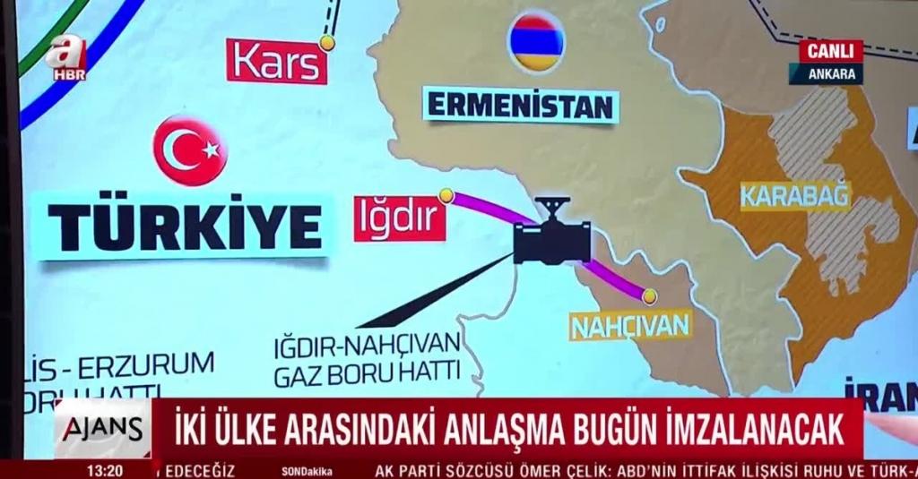 نقشه طرح خط لوله انتقال گاز از ترکیه به نخجوان